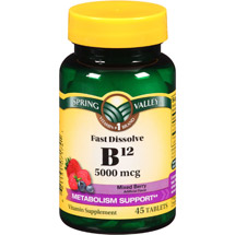 Spring Valley Mixed Berry Fast Dissolve B12 Vitamin Supplement Tablets