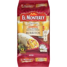 El Monterey Signature Meat Lovers Egg Sausage Bacon & Cheese Burritos