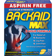 Backaid Max Backache Relief 1000 Mg Strong Per Dose 28 ct