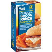 Great Value Chicken Bacon Ranch Sandwiches