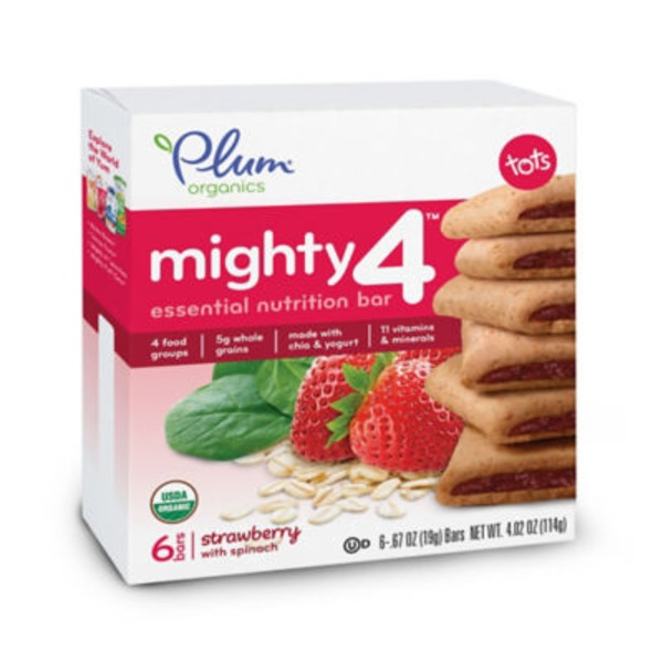 Plum Tots Mighty 4 Strawberry with Spinach Essential Nutrition Bar
