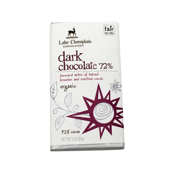 Lake Champlain Chocolates Organic 72% Dark Chocolate Bar