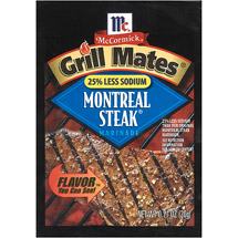 McCormick Montreal Steak Grill Mates 25% Less Sodium Marinade Seasoning