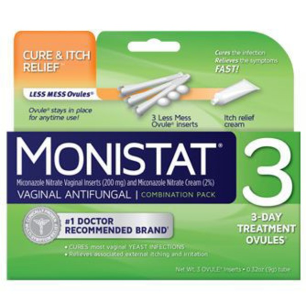 Monistat 3 Vaginal Antifungal 3 Day Treatment Cream Dual Action Combination Pack