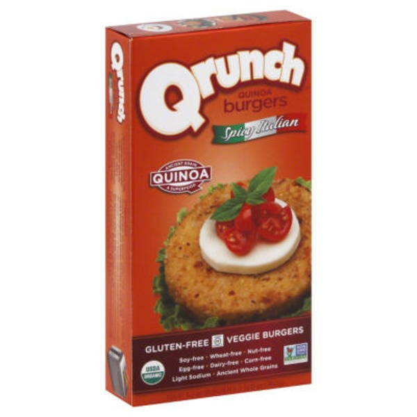 Qrunch Quinoa Burgers Spicy Italian - 4 CT