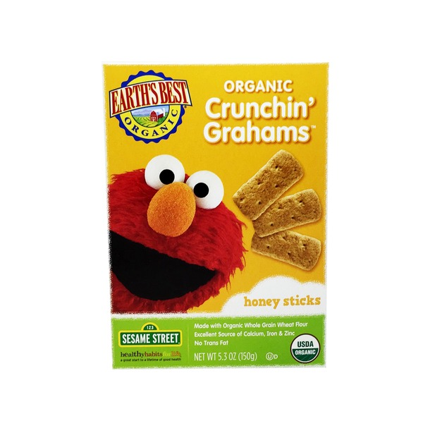 Earth's Best Crunchin' Grahams, Honey Sticks, 123 Sesame Street