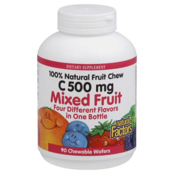 Natural Factors 100% Natural Fruit Chewable Wafers C500 mg