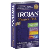 Trojan Trojan Pleasure Pack Premium Latex Condoms, Lubricated