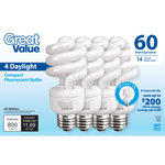 Great Value 60 Watt Equivalent (14W) Daylight CFL Lightbulb