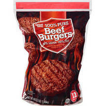 80% Lean/20% Fat Great Value Beef Burgers