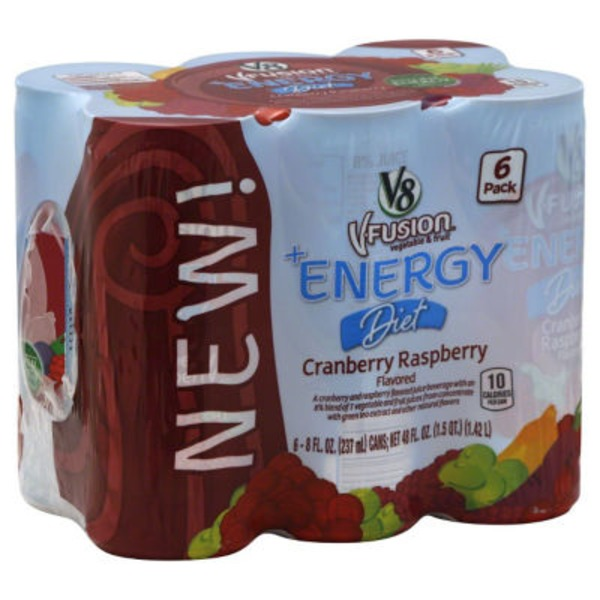 V8 V Fusion +Energy Diet Cranberry Raspberry Vegetable & Fruit Juice