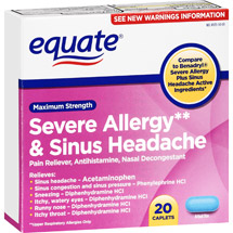 Equate Severe Allergy & Sinus Headache Maximum Strength Caplets Antihistamine