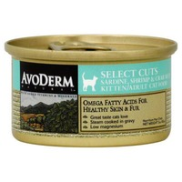AvoDerm Cat Food, Kitten/Adult, Select Cuts, Sardine, Shrimp & Crab Meat