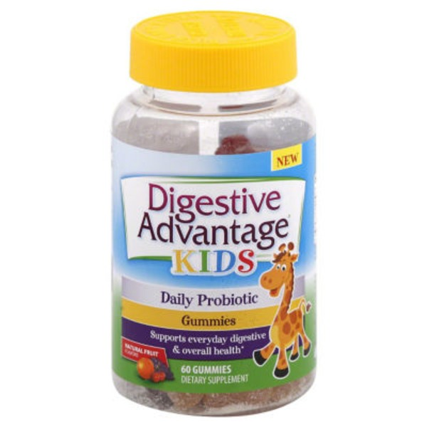 Digestive Advantage Kids Daily Probiotic Natural Fruit Gummies Dietary Supplement