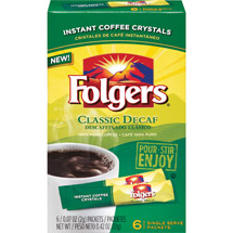 Folgers: Classic Decaf .07 Oz Packets Instant Coffee Crystals