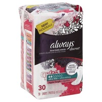 Always Discreet Always Discreet, Incontinence Liners, Ultra Thin, Regular Length, 30 Count Feminine Care