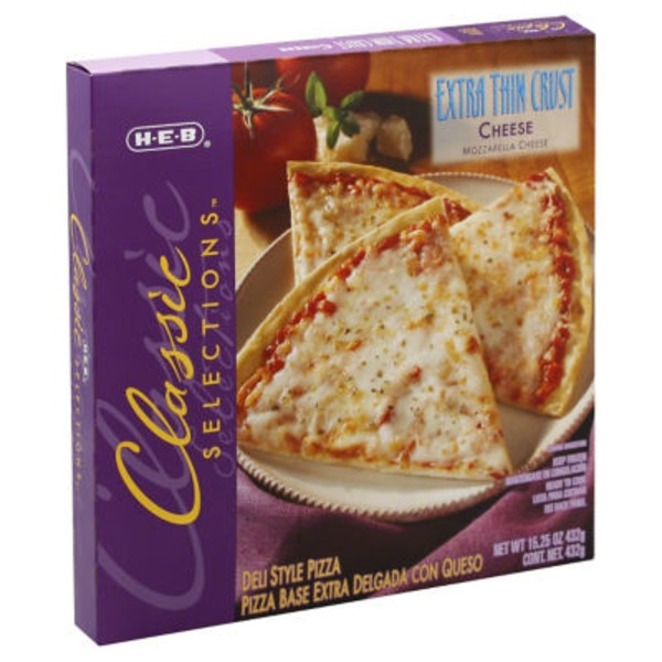 H-E-B Classic Selections Deli Style Extra Thin Crust Cheese Pizza