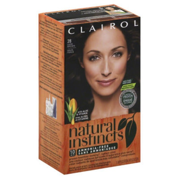 Clairol Natural Instincts, 4 / 28 Nutmeg Dark Brown, Semi-Permanent Hair Color, 1 Kit Female Hair Color
