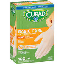 Curad Basic Care Vinyl Exam Gloves Large/Extra Large