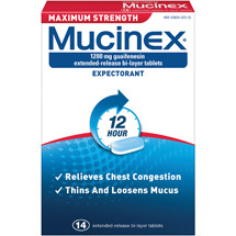 Mucinex Max Strength 1200 Mg Guaifenesin Extended-Release Bi-Layer Tablets Expectorant