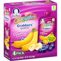 Gerber Graduates Grabbers Squeezable Fruit Banana Blueberry 4.23 Ounce Pouch