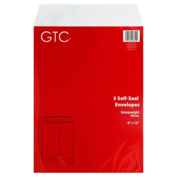 GTC 9 X 12 In Self Seal Heavyweight White Envelopes