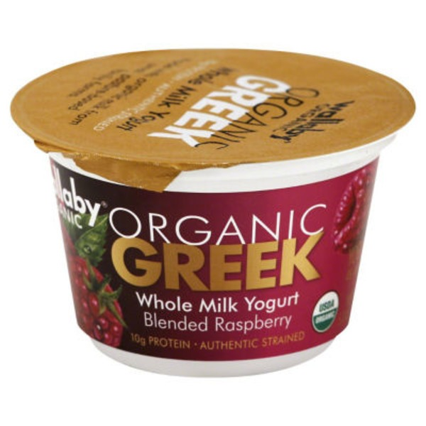 Wallaby Organic Greek Whole Milk Blended Raspberry Yogurt