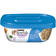 Purina Beneful Chopped Blends Wet Dog Food with Turkey Sweet Potatoes Brown Rice and Spinach 10-oz Plastic Tub