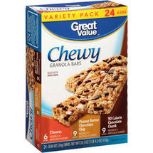 Great Value Chocolate Chunk Chewy Granola Bars Variety Pack