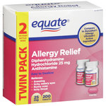 Equate Diphenhydramine Hydrochloride Antihistamine Allergy Relief 25mg