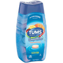 Tums Smoothies Assorted Fruit Extra Strength 750 Antacid Tablets