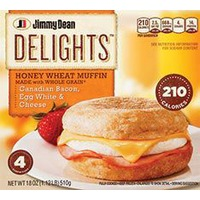 Jimmy Dean Delights Honey Wheat English Muffin Sandwiches Canadian Bacon, Egg White & Cheese - 4 CT