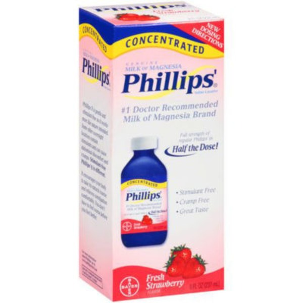 Phillips Gourmet Milk of Magnesia Concentrated Fresh Strawberry Liquid Saline Laxative