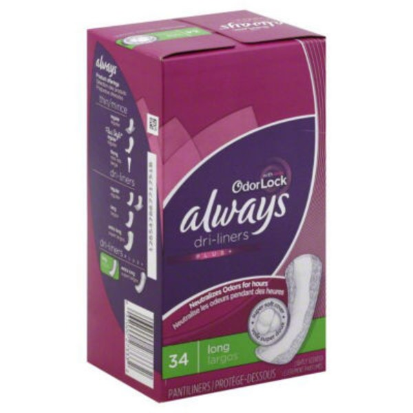 Always Xtra Protection Always Xtra Protection with Odor-Lock Daily Liners, Long 34 Count Feminine Care