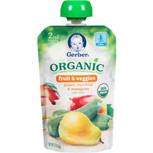 Gerber Organic 2nd Foods Fruit & Veggies Pears Zucchini & Mangoes