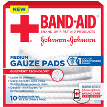 Band-Aid Brand Medium Gauze Pads 3 Inches by 3 Inches