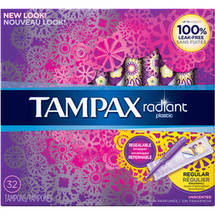 Tampax Radiant Plastic Unscented Regular Absorbent Tampons (Choose your Count)