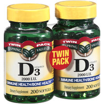 Spring Valley Vitamin D3 2000 IU Twin Pack Softgels Dietary Supplement