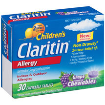Children's Claritin Allergy Grape Flavored Chewable Tablets