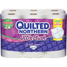 Quilted Northern Ultra Plush Toilet Paper 12 Double Rolls Bath Tissue