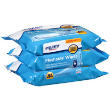 Equate Fresh Scent Flushable Wipes (Pack of 3)