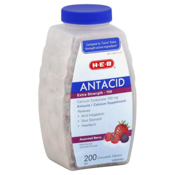 H-E-B Antacid Extra Strength 750 Mg Assorted Berry Chewable Tablets