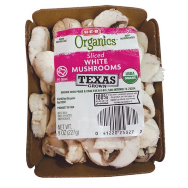 H-E-B Organic Sliced White Mushrooms