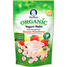 Gerber Organic Yogurt Melts Banana Strawberry Freeze-Dried Yogurt Snacks