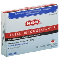 H-E-B Nasal Decongestant Pe Non Drowsy/Maximum Strength Nasal & Sinus Congestion