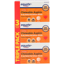 Equate Value Pack Aspirin Chewable Orange Flavor 81 Mg Pain Reliever 36 Ct