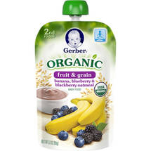 Gerber 2nd Foods Organic Fruit ; Grain Banana Blueberry ; Blackberry Oatmeal Baby Food