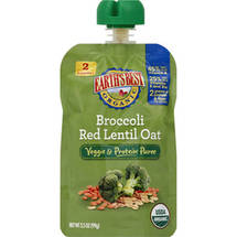 Earth's Best Organic Broccoli Red Lentil Oat Veggie & Protein Puree