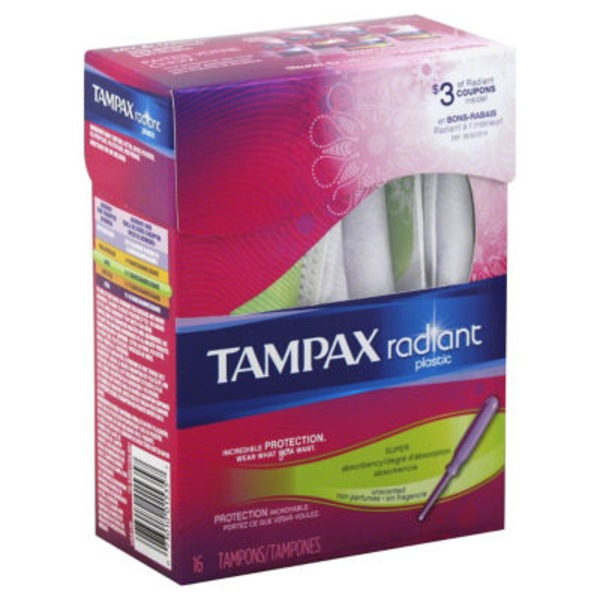 Tampax Radiant Tampax Radiant Plastic Super Absorbency Tampons 16 Count Feminine Care