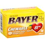 Bayer Chewable Orange Flavored Low Dose Baby Aspirin Pain Reliever